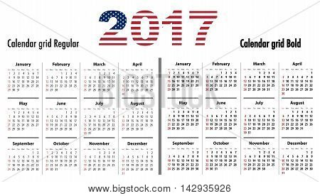 Calendar grid for 2017 with USA flag colors on 2017. Sundays first. Regular and bold digits grid. Best for business and office needs web design presentations and prints. Sundays first. Vector illustration