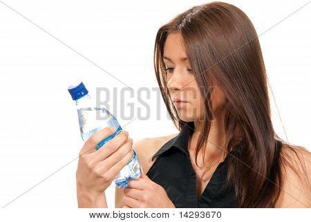 Female Hold Sparkling Mineral Bottled Water Drink