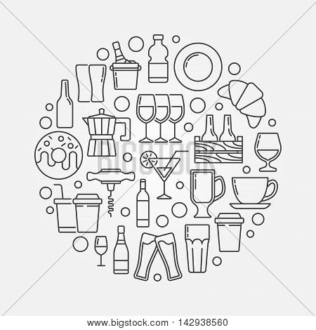 Cafe and bar circular illustration. Vector outline symbol made with food, drinks and beverages icons