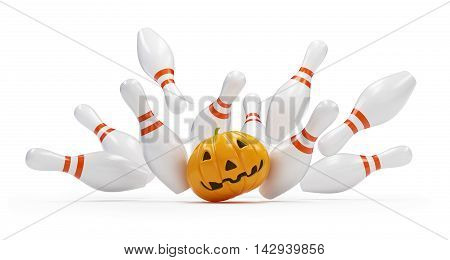 bowling strike success halloween pumpkin. 3D illustration