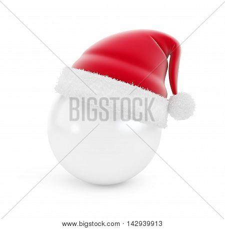 santa hat ball on white background. 3d Illustrations