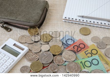 Australian Money, Aud With Calculator, Notebook And Small Money Pouch