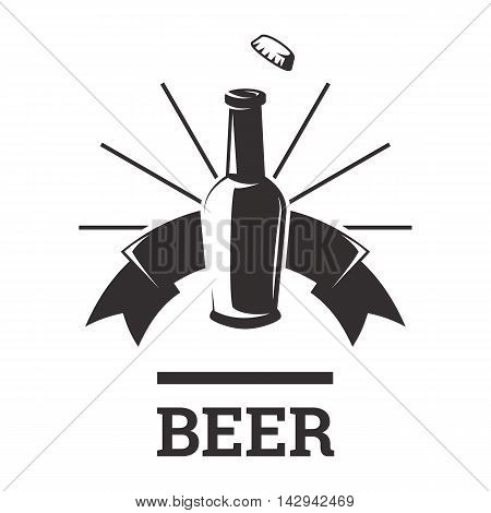 Beer insignia logo with glassware isolated on white background. Beer bottle. Vintage ale and lager emblem for brewery. Vector elements for label or badge design. EPS vector illustration.