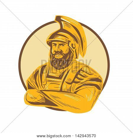 Drawing sketch style illustration of Agamemnon king of Mycenae in the Greek mythology with arms crossed set inside circle on isolated background.