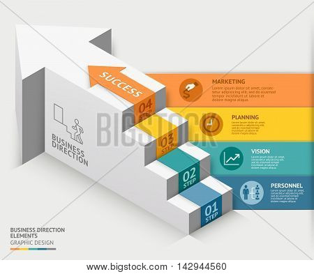 3d business staircase diagram template. Vector illustration. can be used for workflow layout banner number options step up options web design infographics timeline template.
