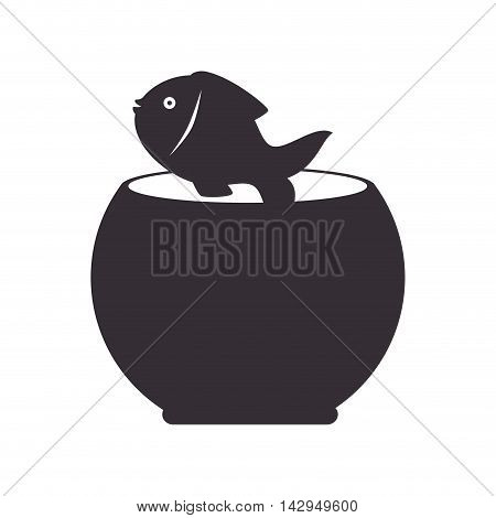 fishbowl fish aqua mascot sea water aquarium vector illustration isolated