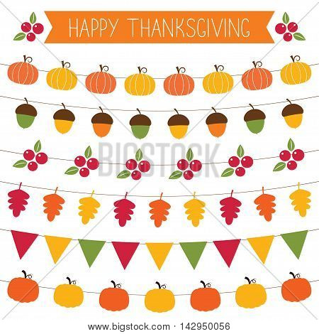Thanksgiving and fall bunting and decoration elements