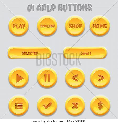 Save Download Preview Gold shiny circle and horizontal game button templates on gray background, vector game assets for epic GUI, UI and UX.