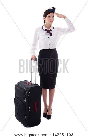 Stewardess Saluting With Suitcase Isolated On White
