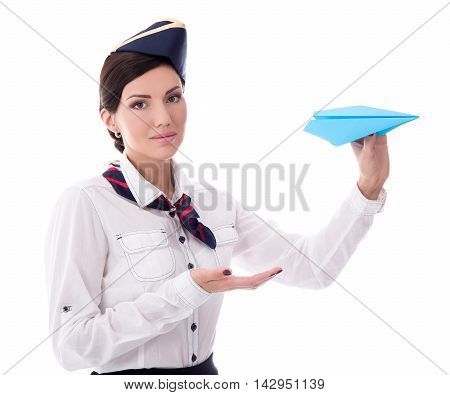 Travel Concept - Portrait Of Young Stewardess With Paper Plane Isolated On White