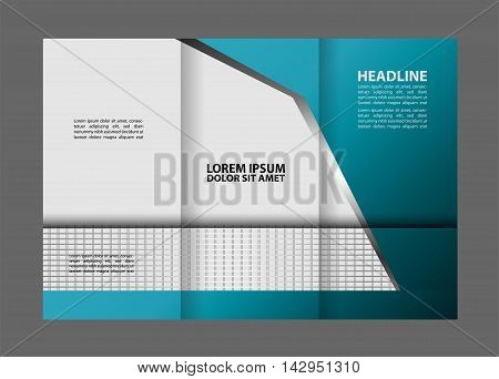 Vector tri-fold brochure design template with abstract geometric background EPS10 Tri-Fold Mock up & back Brochure Design