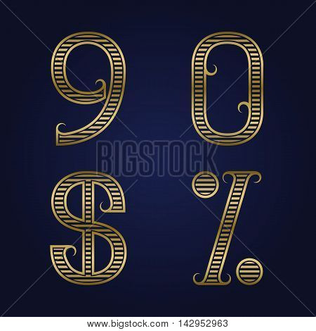 Nine zero golden ribbed numbers dollar and percent sign with flourishes. Horizontal stripes vintage font.