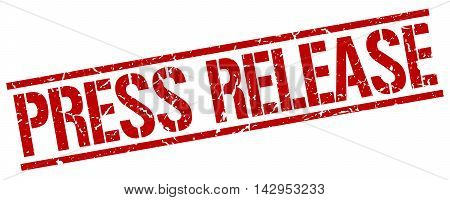 press release stamp. red grunge square isolated sign