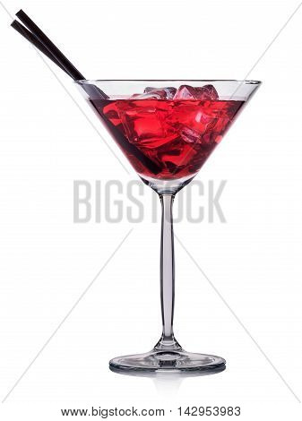 Red cocktail in martini glass isolated on white background.