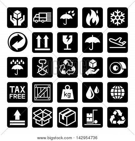 Set of carton cardboard box Icons. Vector illustration.