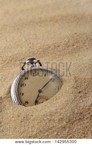 Antique Pocket Watch In Sand