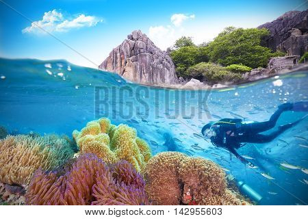 Young Woman Scuba Diver explores a Coral Reef