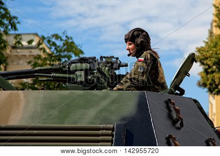 Warsaw, Poland - August 15, 2016: Polish soldier during the Feast of the Polish Army on August 15, 2016 in Warsaw in Poland