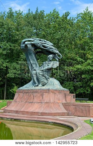 Warsaw, Poland - August 15, 2016: The Chopin Statue in Warsaw's Royal Baths Park aka Lazienki Park on August 15, 2016 in Poland