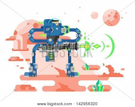 Starship troopers character. Star war, storm soldier with weapon, astronaut in helmet, flat vector illustration