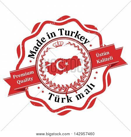 Made in Turkey (this is the translation of the Turkish text) label / icon / badge with the map and flag of Turkey.