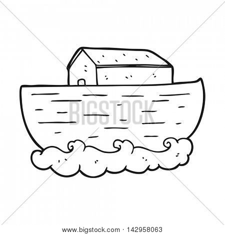 freehand drawn black and white cartoon noah's ark