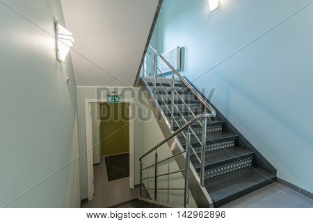 Staircase in modern building. Bright and modern building interior.