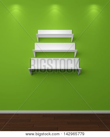 3d rendered illustration of modern empty bookshelves.