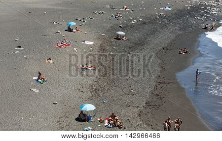 FUERTEVENTURA, SPAIN - SEPTEMBER 16, 2015: black sand beach in Ajuy Fuerteventura Canary Islands Spain
