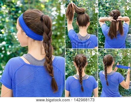 Hair tutorial. Hairstyle braid tutorial. Backstage technique of weaving plait. Hairstyle. Tutorial. Braided updo tutorial. Hairstyle for sports