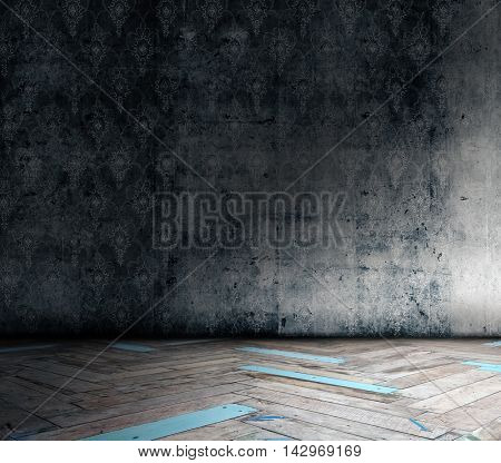 old grunge room with wallpaper, vintage background