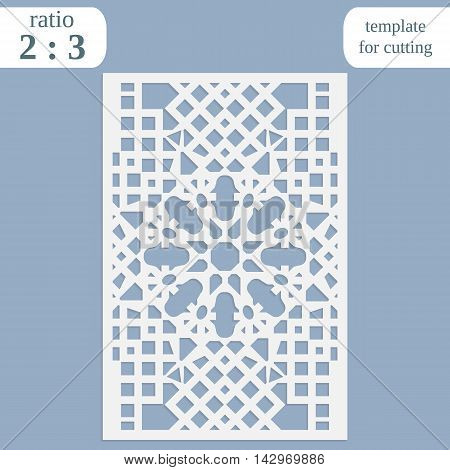 Paper openwork greeting card template for cutting lace invitation lasercut metal panel wood carving vector illustration