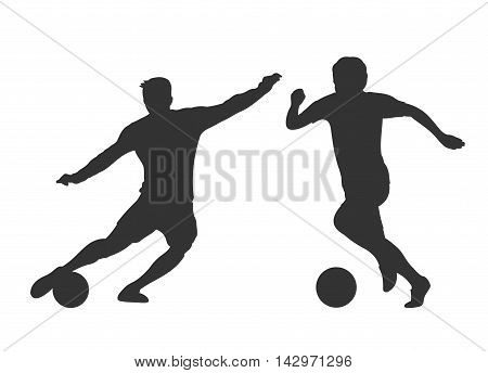 Soccer players silhouettes isolated over white. Activity man play on football. Vector illustration