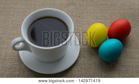 Pouring coffee into cup shooting with high speed camera phantom flex and Easter eggs