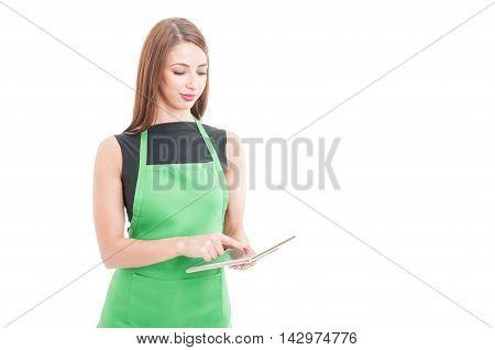 Hypermarket Clerk Working On Modern Tablet
