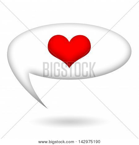 Heart inside speech bubble isolated on white background