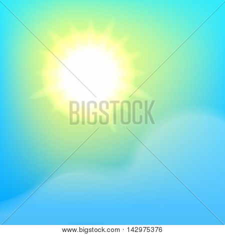 Bright sun, blue sky and cloud. Vector, eps 10 background