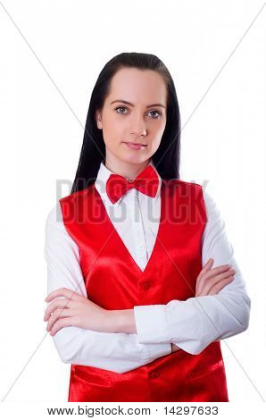 Casino dealer isolated on the white background