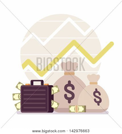 Big and small sack and case full of money, positive chart. Cartoon vector flat-style concept illustration
