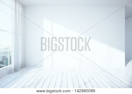 Side view of white minimalistic interior with wooden floor blank concrete wall window with city view and curtains. Mock up 3D Rendering