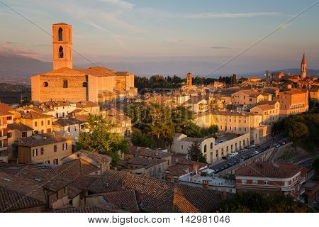 Italy. Perugia - a view of the old town and the Basilica di San Domenico Umbria