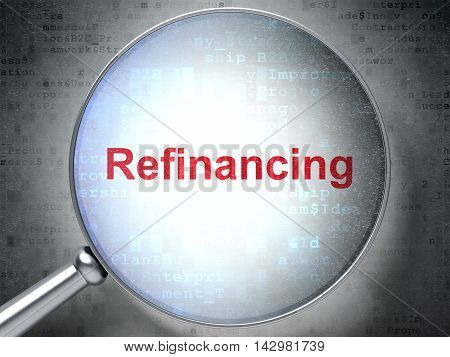 Business concept: magnifying optical glass with words Refinancing on digital background, 3D rendering