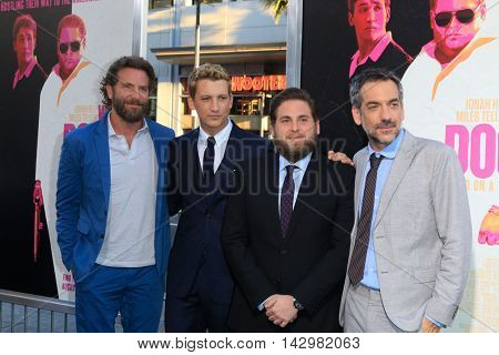 LOS ANGELES - AUG 15:  Bradley Cooper, Miles Teller, Jonah Hill, Todd Phillips at the War Dogs