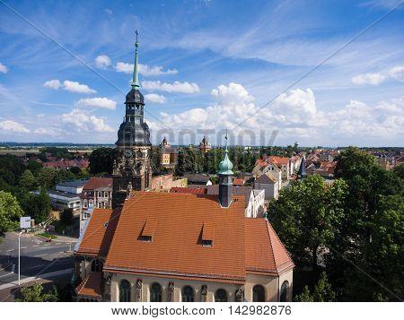 Agnes Church Altenburg Germany aerial view medieval