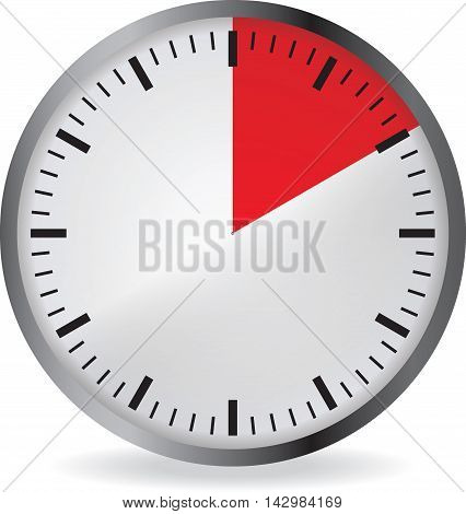 Clock with red 10 minute deadline. Isolated on white background. Vector illustration