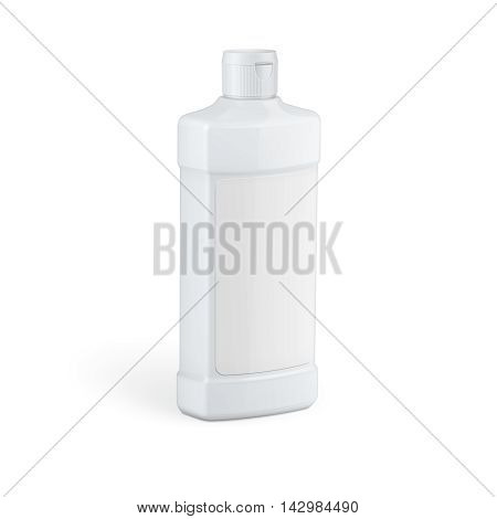White plastic bottle template for household chemicals, cosmetics, car care, liquids. Vector illustration. Packaging collection.