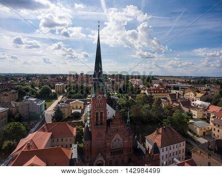 Church Bruederkirche Altenburg Germany market aerial view