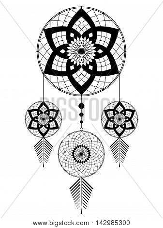 amulet of the Dreamcatcher from the four round elements and feathers on a white background