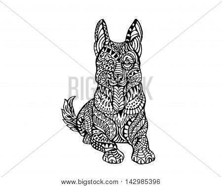 Ethnic Animal Doodle Detail Pattern - German Sheppard Dog Zentangle Illustration