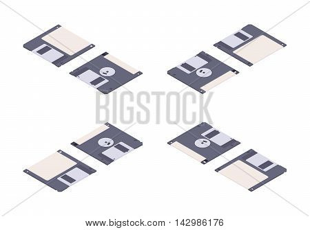 Isometric flat floppy disk, diskette. The objects are isolated against the white background and shown from different sides